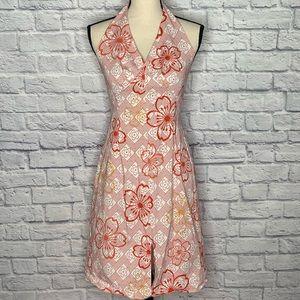 ANTHRO Tabitha Geometric Floral Halter Dress